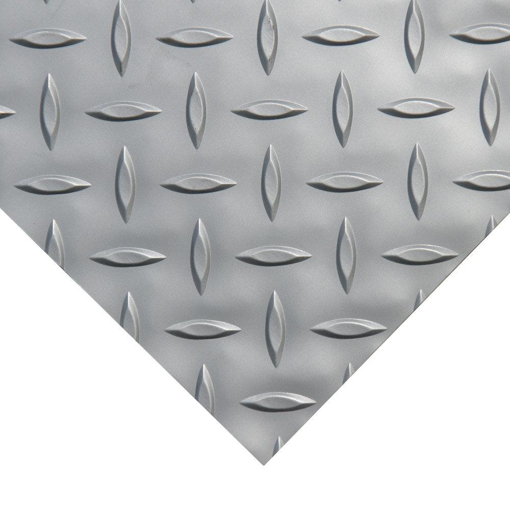 Rubber-Cal Garage Flooring Mat Roll 4 ft x 20 ft Diamond Plate Metallic Durable