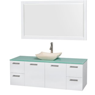 Bargain Amare 60 Single White Bathroom Vanity Set with Mirror ByWyndham Collection