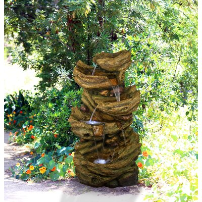 Fiberglass and Resin 5-Tier Waterfall Fountain with Light Alpine