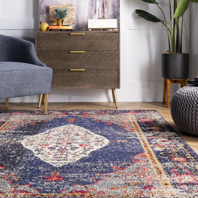 Bungalow Rose Runner Hurston Oriental Navy Area Rug Wayfair