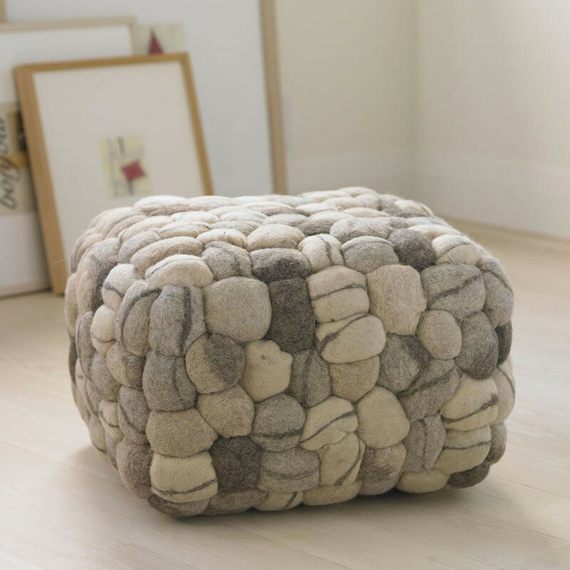 chair looping crochet decor grey foot furniture pouf ottoman knit home nursery stool product