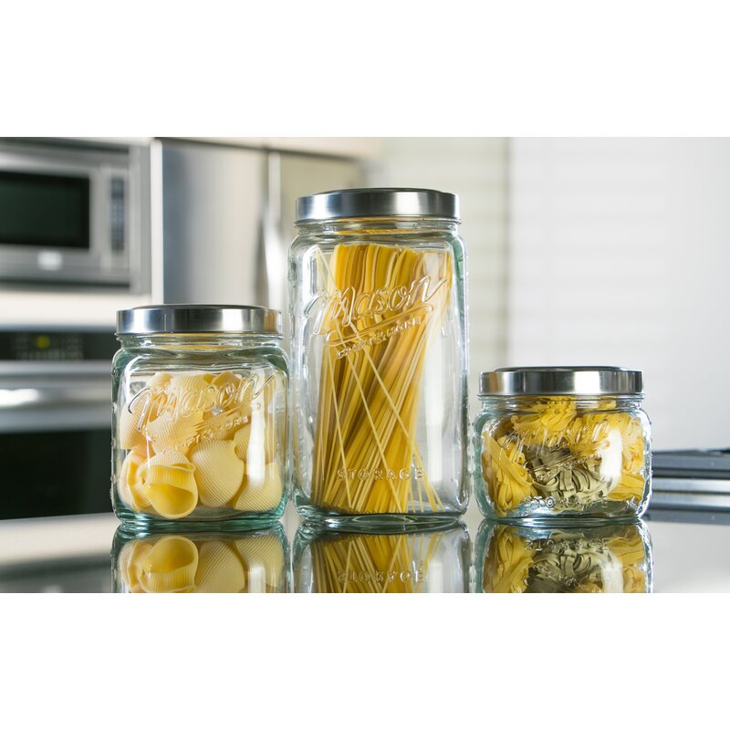 Mason Craft More Glass Pop Up 3 Piece Storage Jar Set Reviews Wayfair
