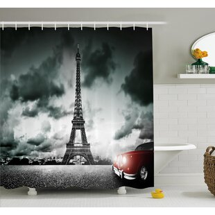 Great Price Eiffel Tower Cloudy Day Shower Curtain Set By Ambesonne