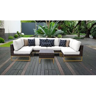Barcelona Outdoor 7 Piece Sectional Seating Group with Cushions by TK Classics