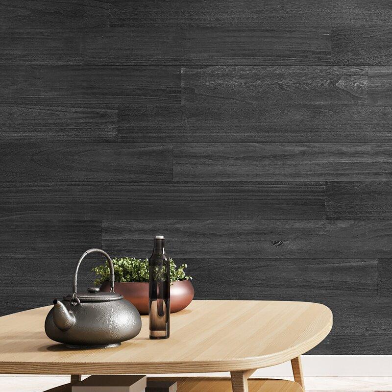 Art3d 5 X 47 Reclaimed Peel And Stick Engineered Wood Wall Paneling In Black Matte Wayfair