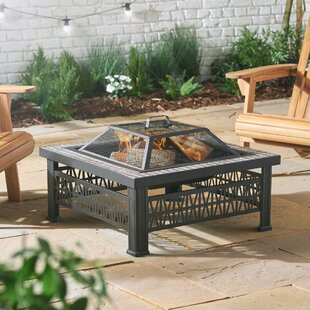 Kareena Geo Steel Wood Burning And Charcoal Fire Pit By Sol 72 Outdoor