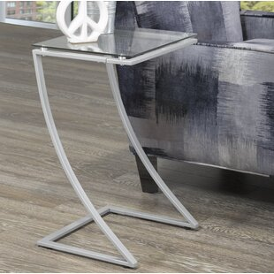 Kessler Tempered Glass End Table by Orren Ellis