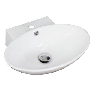American Imaginations Ceramic Oval Vessel Bathroom Sink with Overflow