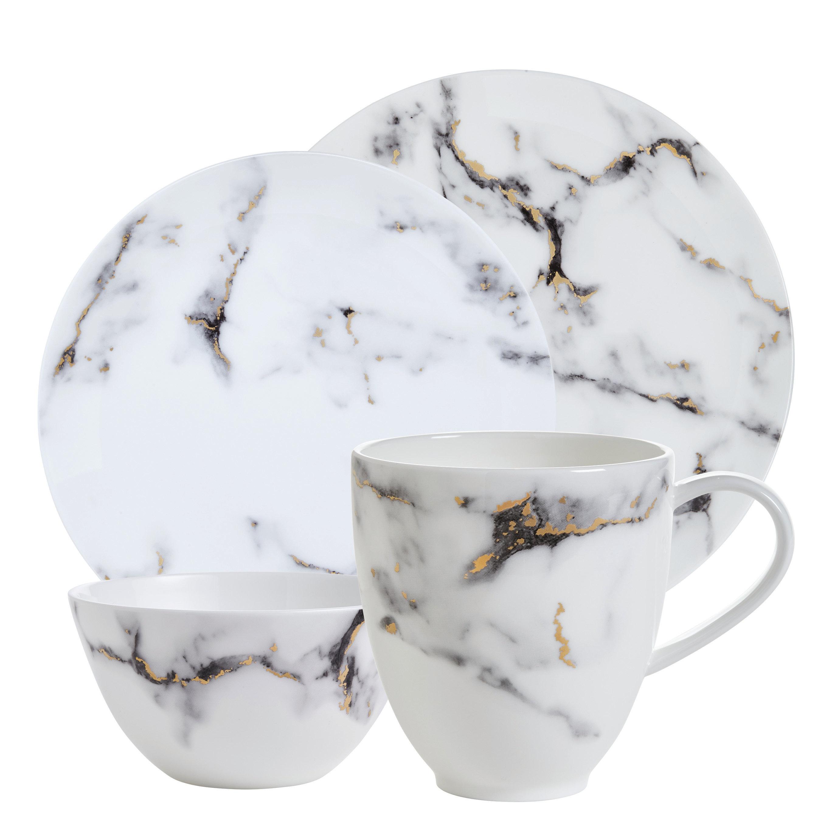 Prouna Marble Venice Fog Bone China 4 Piece Place Setting Perigold
