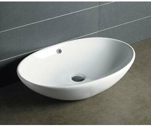 Ceramic Oval Vessel Bathroom Sink with Overflow Novatto