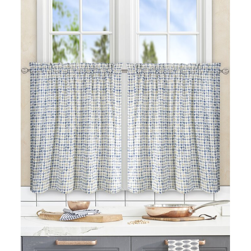 Brandon Ikat Check Tailored Tier Curtains