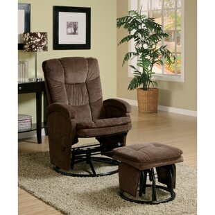Tanis Extra Relaxing Manual Swivel Recliner with Ottoman Red Barrel Studio