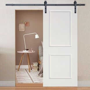 Paneled Manufactured Wood Primed Classic Bent Strap Barn Door with Installation Hardware Kit & Barn Doors