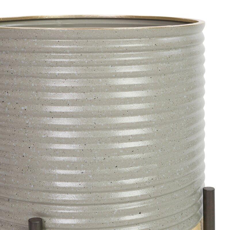 Corrigan Studio Parkes 2 Piece Metal Pot Planter Set Wayfair