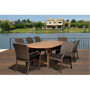 Rosecliff Heights Bridgepointe 9 Piece Teak Dining Set with Cushions