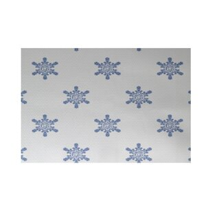Flurries Decorative Holiday Print White Indoor/Outdoor Area Rug
