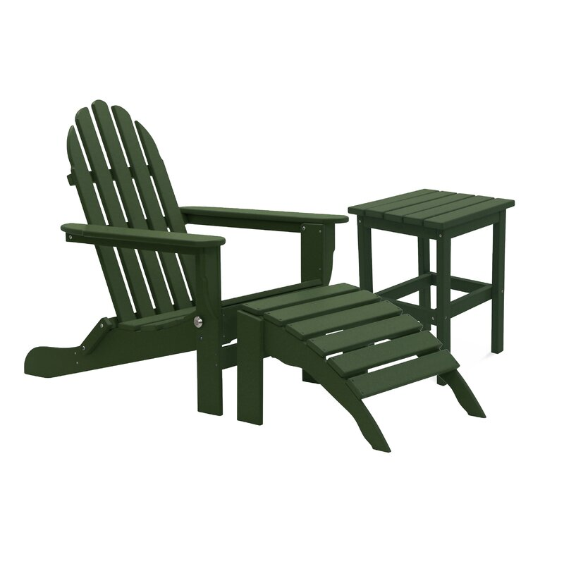 August Grove Beartree Plastic Resin Folding Adirondack Chair With Table And Ottoman Wayfair