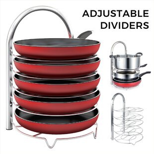 Adjustable 5-Tier Stainless Steel Freestanding Pot Rack By Rebrilliant
