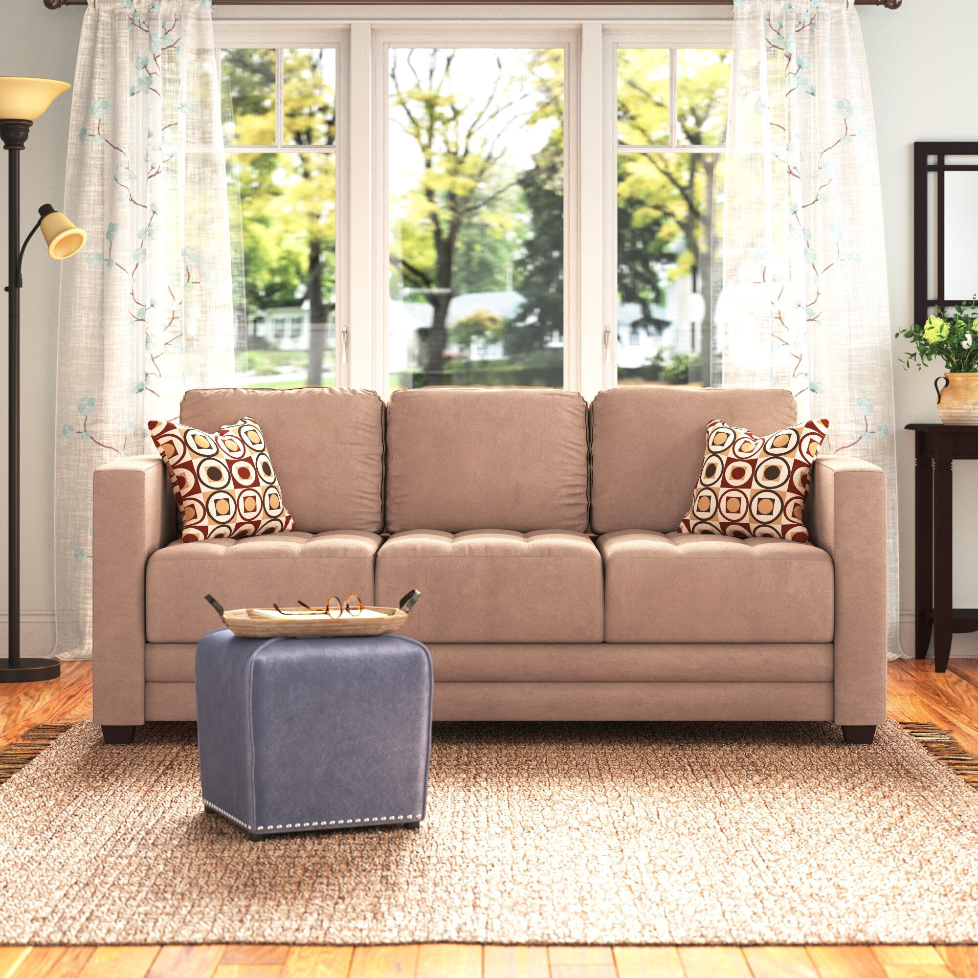 Andover Mills Duquette Microfiber Microsuede 77 Square Arms Sofa Reviews Wayfair