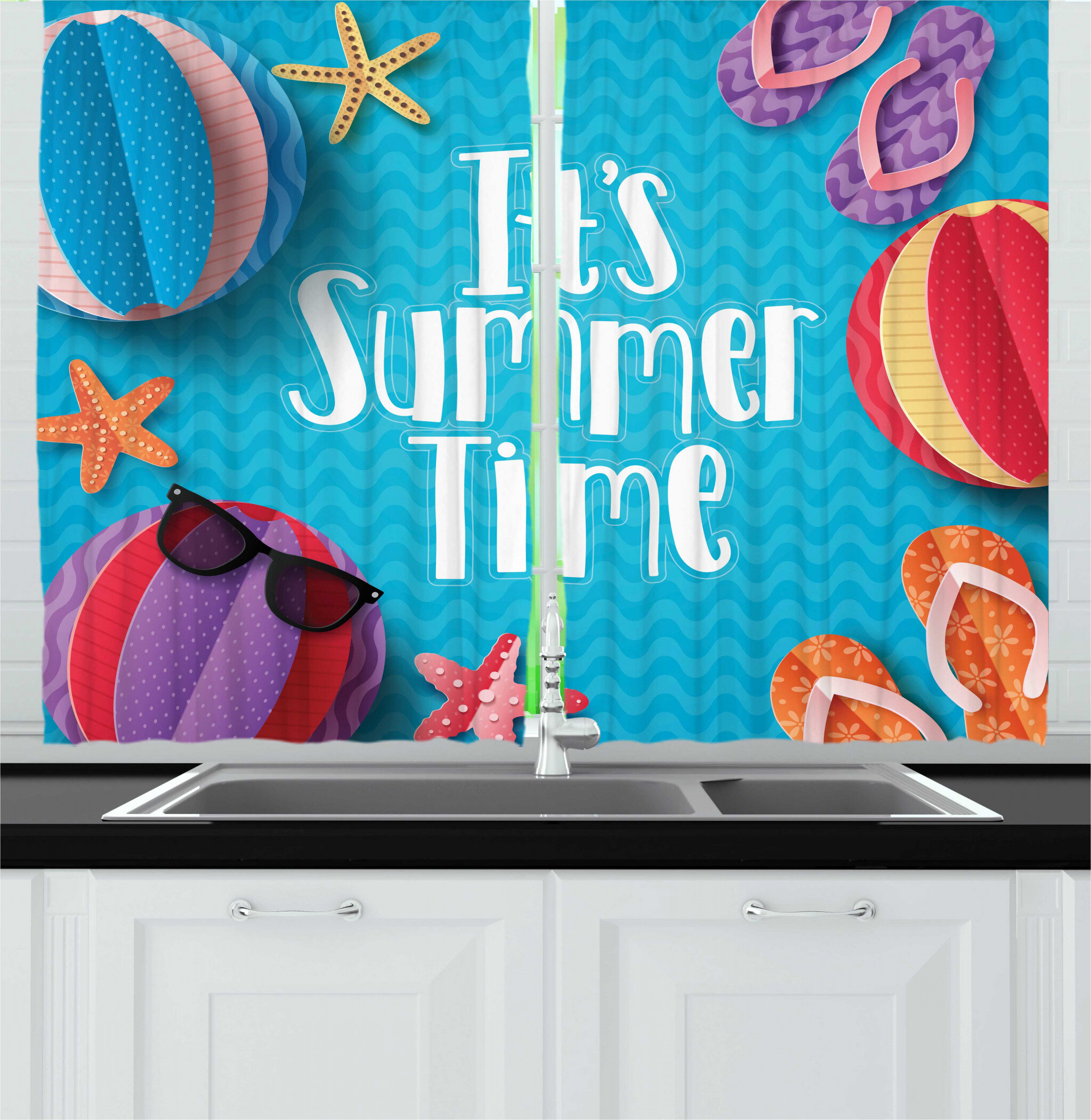 East Urban Home 2 Piece Its Summer Time Lettering With Beach Fun Sunglasses Starfish Balls Flip Flops Pool Party Kitchen Curtain Set Wayfair