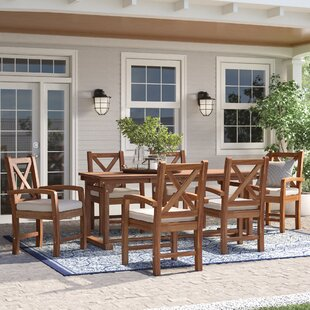 Tim X-Back Acacia Patio 7 Piece Dining Set with Cushions