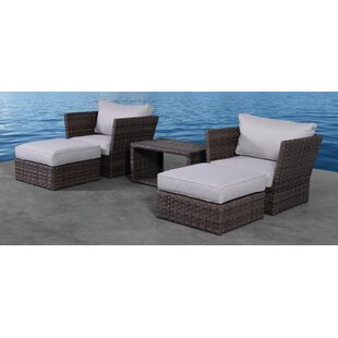 Perseus 5 Piece Rattan 2 Person Seating Group with Cushions