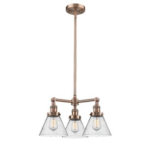 Adelinda Large Cone 3-Light Shaded Chandelier by 17 Stories