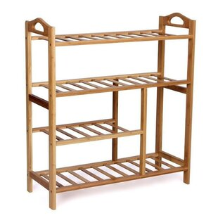 Natural Bamboo 4 Tier Shoe Rack By Symple Stuff