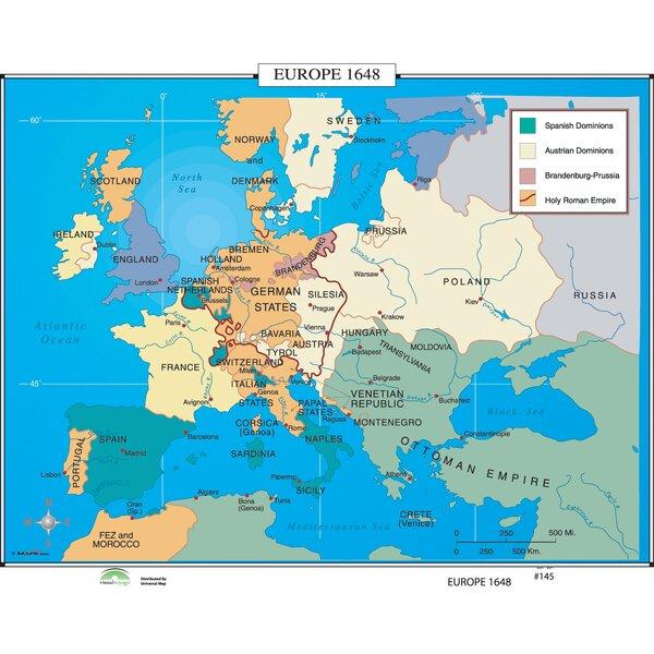 historical map of europe 1648 Universal Map World History Wall Maps   Europe 1648 | Wayfair