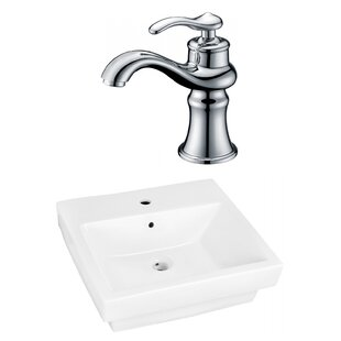 Bargain Ceramic Rectangular Vessel Bathroom Sink with Faucet and Overflow By American Imaginations