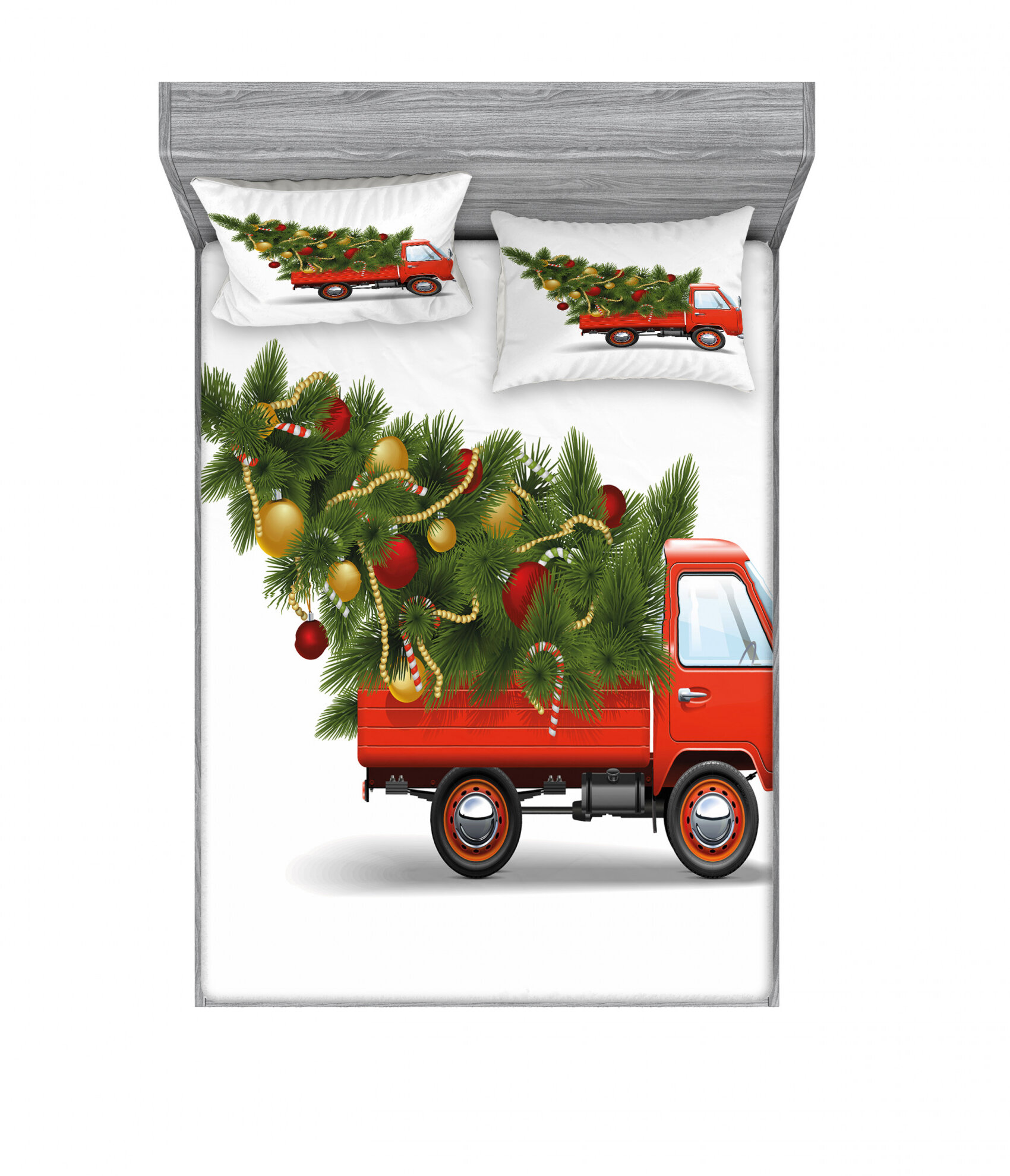 East Urban Home Retro Farm Truck And Big Christmas Tree With Tinsel Balls Candy Sheet Set Wayfair