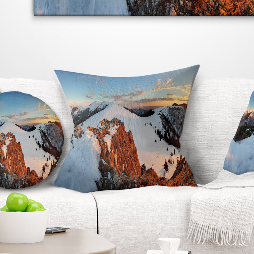 East Urban Home Landscape Slovakia Frozen Panorama Printed Pillow Wayfair