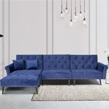 114 Velvet Reversible Reclining Sofa & Chaise with Ottoman by wangcai