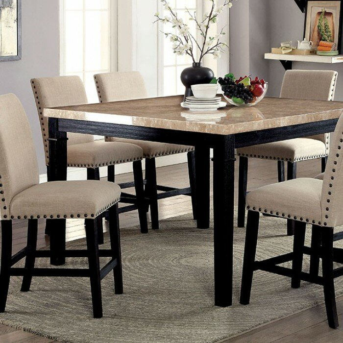 Arick Square Marble Top Counter Height Dining Table