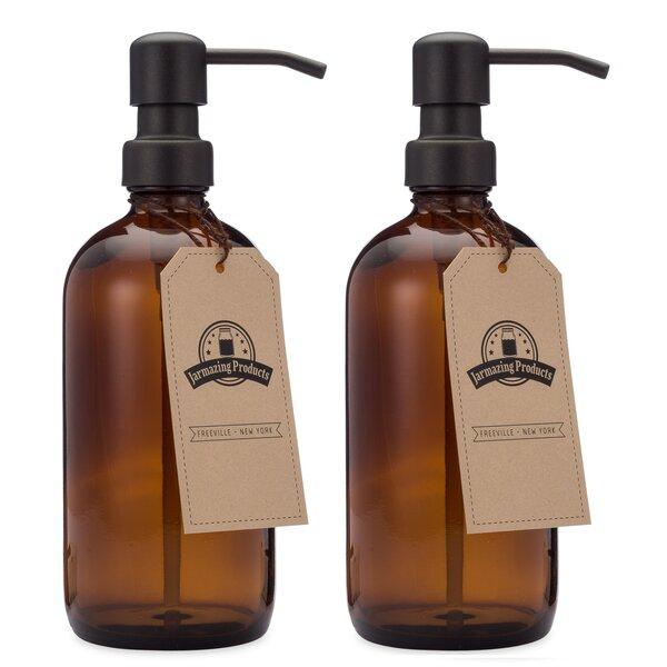 8oz Glass Boston Round Bottle with Black Metal Soap Dispenser Pump Grey Soap Dispenser Gray Soap Dispenser 2.25  by 7