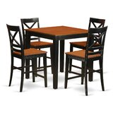 5 - Piece  Rubberwood Solid Wood Dining Set by East West Furniture