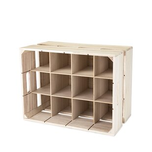 True Brands Wooden Crate 12 Bottle Tabletop Wine Bottle Rack