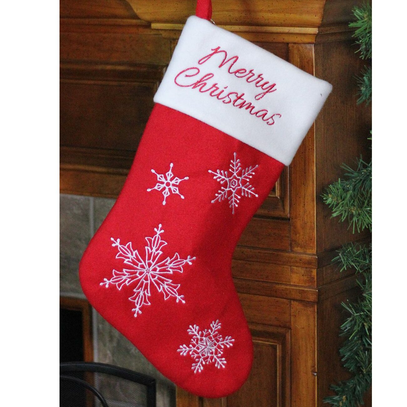 Embroidered Christmas Stockings.Merry Christmas Snowflake Embroidered Christmas Stocking With Fabric Loop