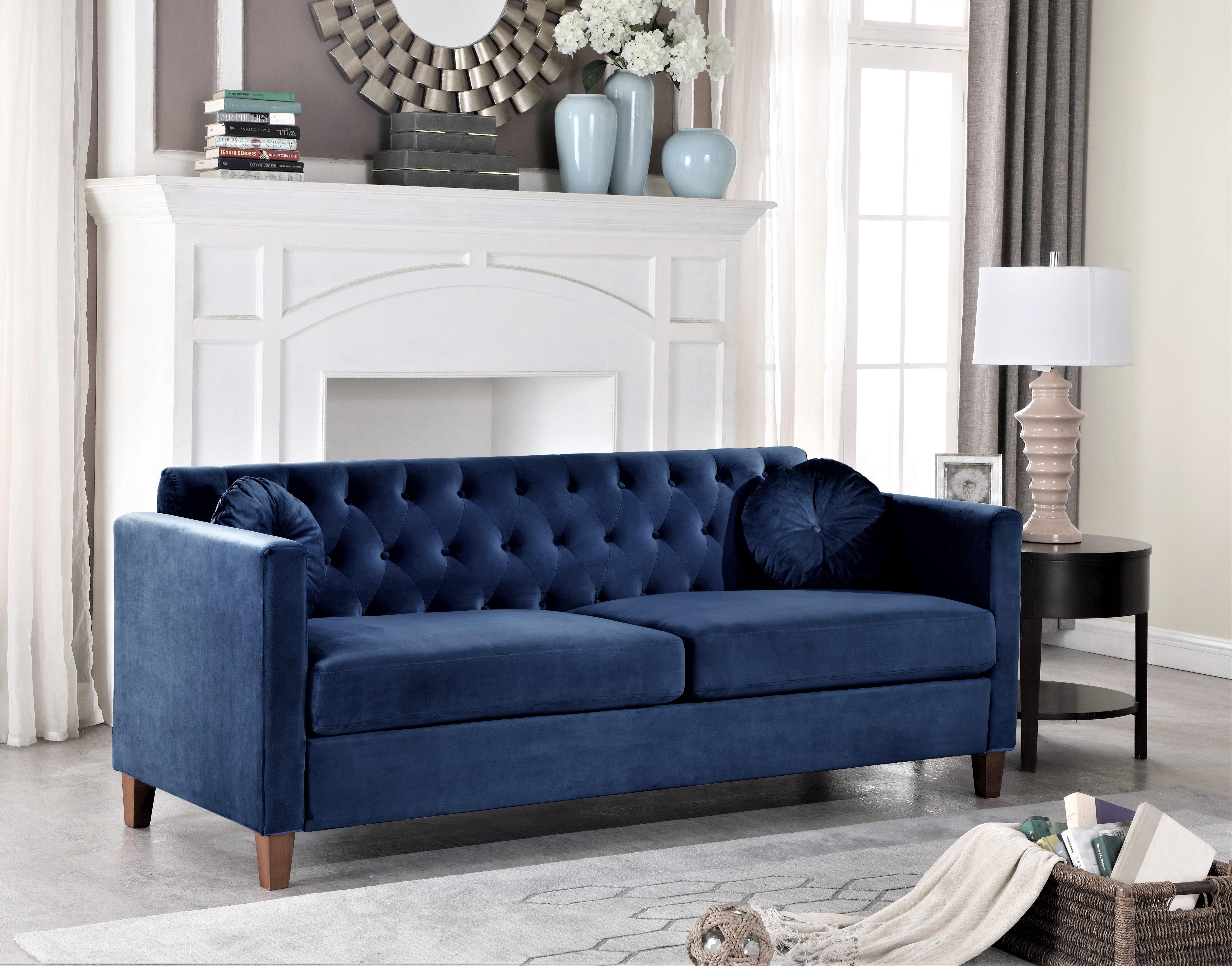 Mercer41 Persaud Velvet 79 5 Square Arms Sofa Reviews Wayfair Ca