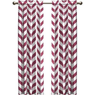 Ebern Designs Bayshore Chevron Light Filtering Rod Pocket Curtain Panels Size per Panel: 28 W x 63 L, Color: Fuschia