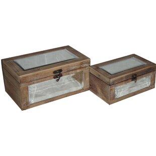 Compare prices Wash 2 Piece Wood Box Set ByGracie Oaks