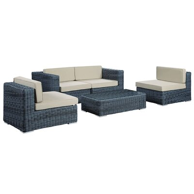 Alaia 5 Piece Rattan Sunbrella Sectional Seating Group with Cushions Cushion Color: Beige by Brayden Studio
