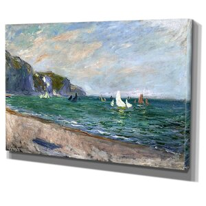 'Sailboats Near the Sea' by Claude Monet Painting Print on Wrapped Canvas