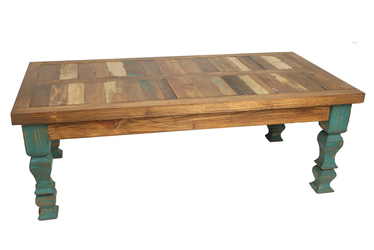 Reclaimed wood coffee tables youll love wayfair crenata reclaimed old door coffee table geotapseo Images