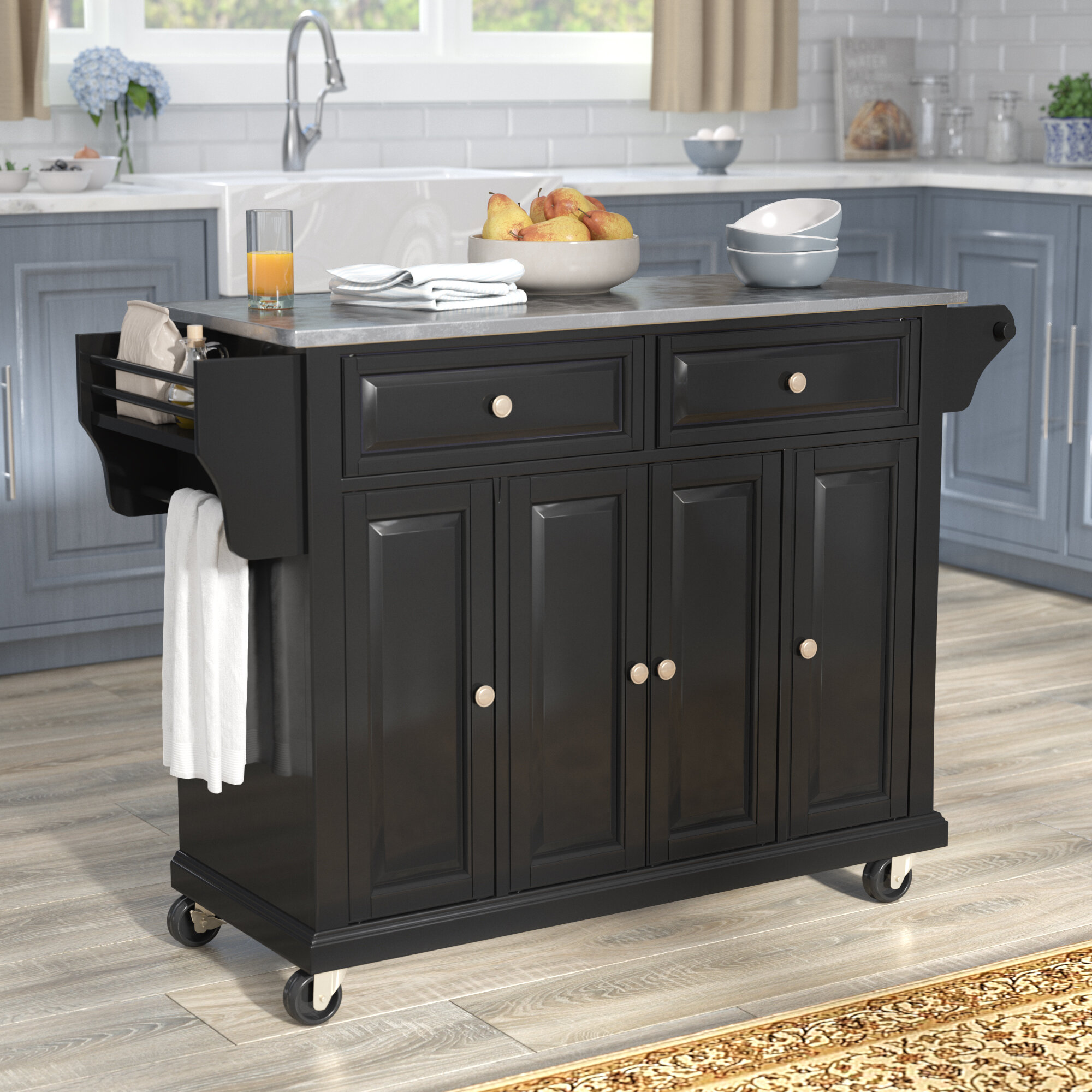 Darby Home Co Chan Kitchen Island With Stainless Steel Top U0026 Reviews |  Wayfair