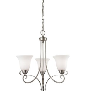 Wall 3-Light Shaded Chandelier by Fleur De Lis Living