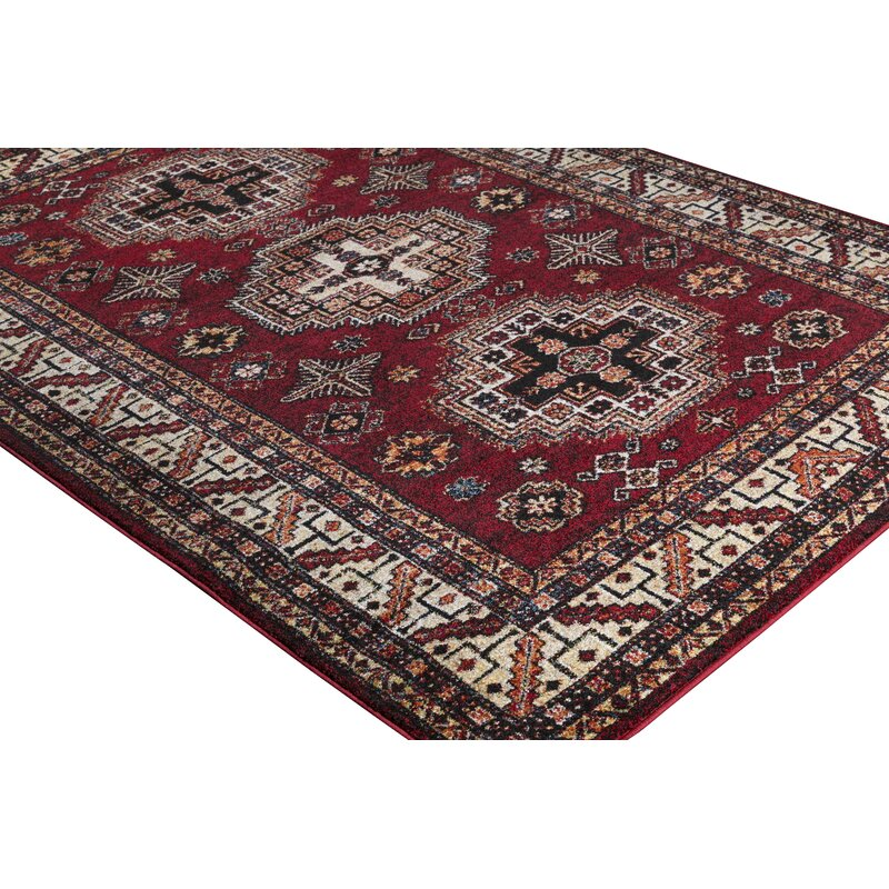 World Menagerie Brahim Redblack Area Rug Reviews Wayfair
