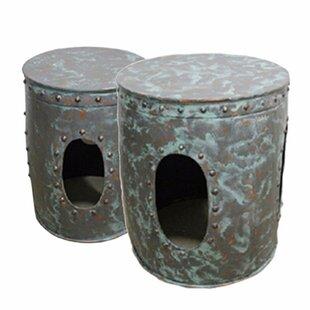 Bloomsbury Market Pierro Distressed Metal 2 Piece Nesting Tables