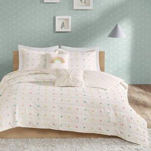 Sanabria Cotton Jacquard Pom Pom Coverlet Set