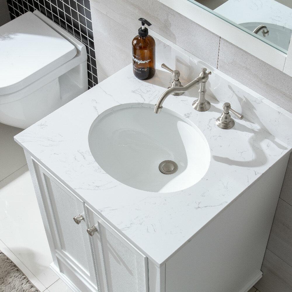 Constantia 36 Inch Bathroom Vanity Wite Color White Carrara Marble Top